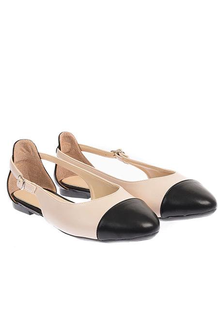 Shoestime Bej Siyah Babet