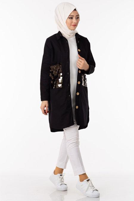Siyah Cebi Pullu Düğmeli Gabardin Ceket