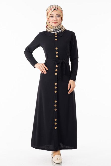 Siyah Düğme Detaylı Kuşaklı Tesettür Elbise