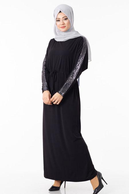Siyah Kolu Payetli Tesettür Elbise