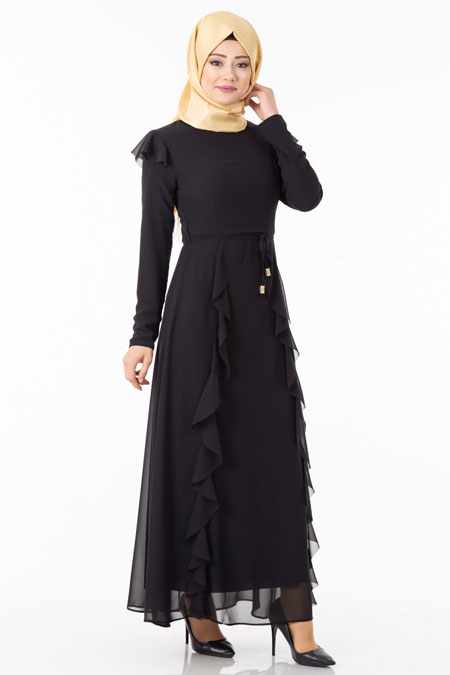 Siyah Şifonlu Fular Detaylı Tesettür Elbise