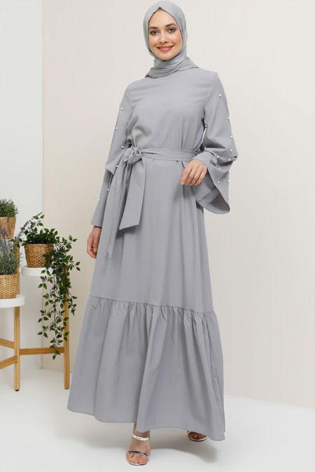 Tavin Gri İncili Volan Detaylı Elbise