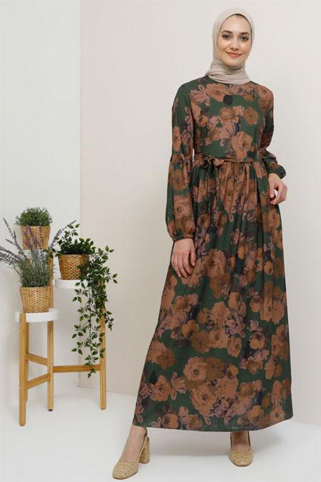 Tavin Haki Desenli Elbise