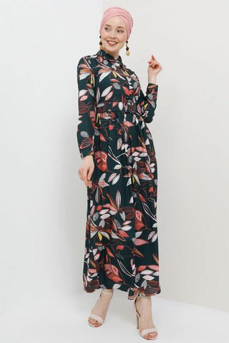 Tavin Haki Yaprak Desenli Kemerli Elbise