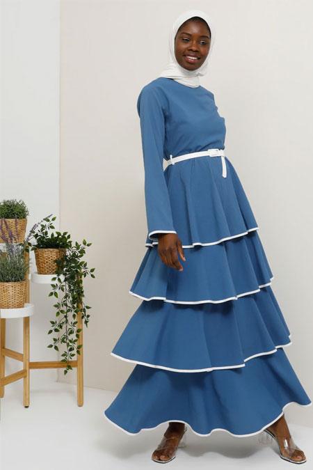 Tavin İndigo Kemer Detaylı Volanlı Kat Kat Elbise
