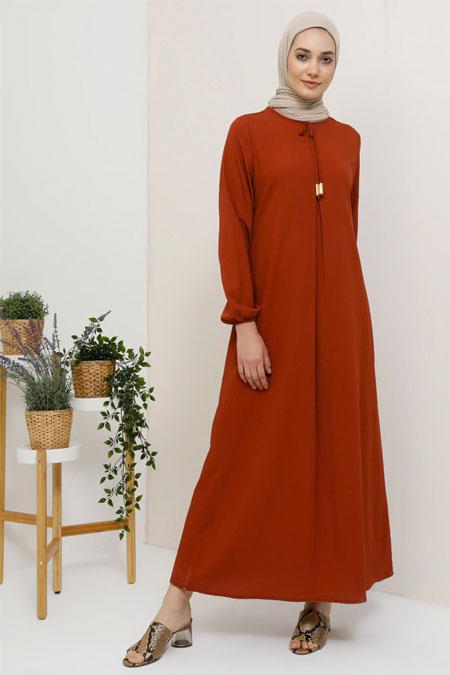 Tavin Kiremit Fiyonk Yaka Detaylı Elbise