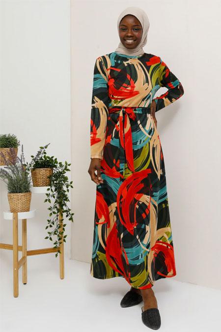 Tavin Kiremit Yeşil Desenli Kemerli Elbise
