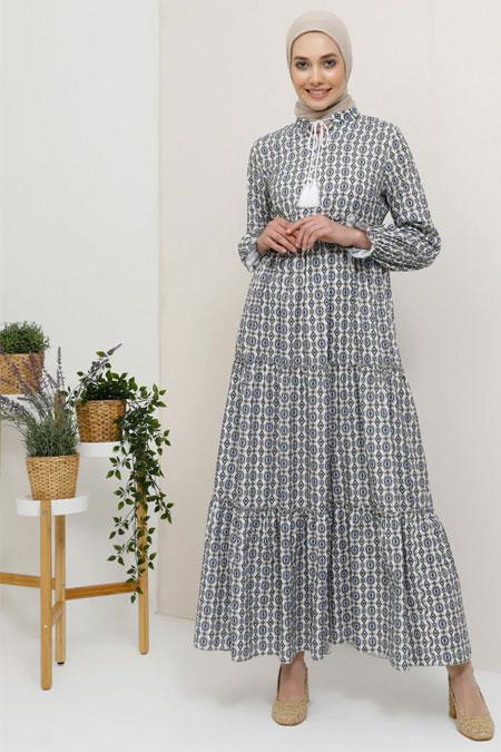 Tavin Lacivert Yaka Detaylı Etnik Desenli Elbise