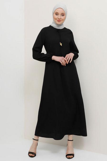 Tavin Siyah A Pile Fiyonk Yaka Detaylı Elbise