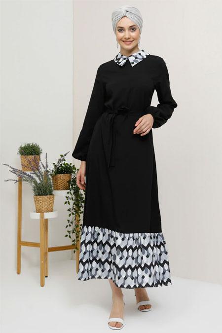 Tavin Siyah Gri Gizli Fermuar Detaylı Elbise