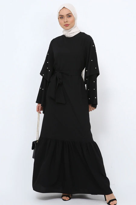 Tavin Siyah İncili Volan Detaylı Elbise