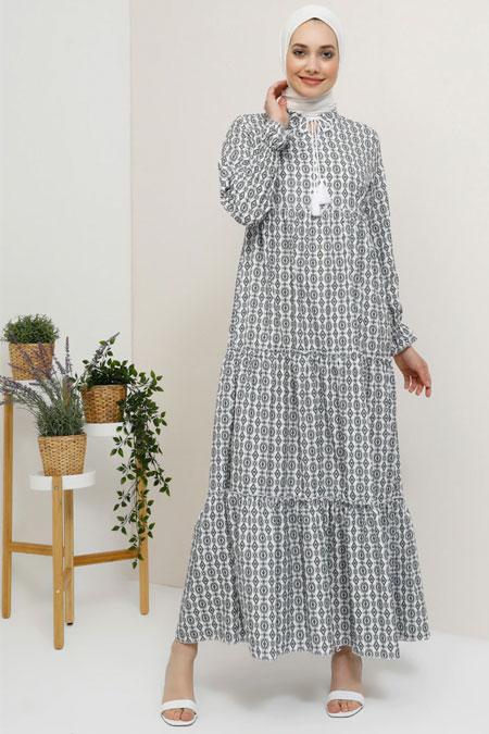 Tavin Siyah Yaka Detaylı Etnik Desenli Elbise