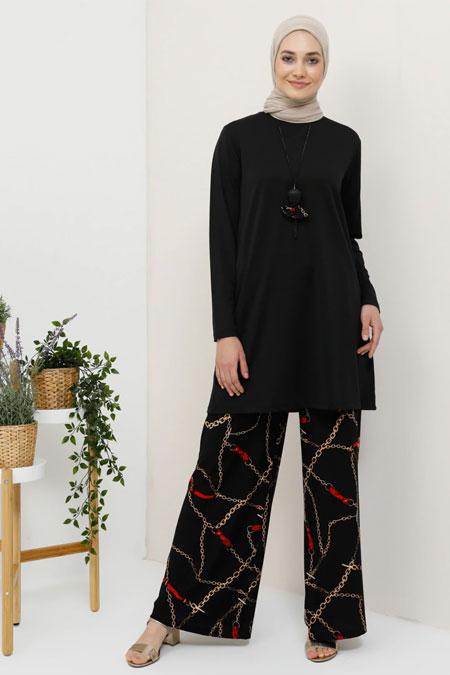 Tavin Siyah Zincir Desenli Tunik & Pantolon İkili Takım