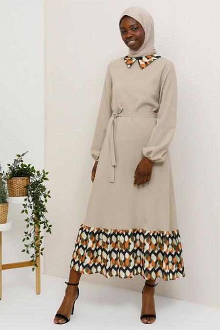 Tavin Vizon Kiremit Gizli Fermuar Detaylı Elbise