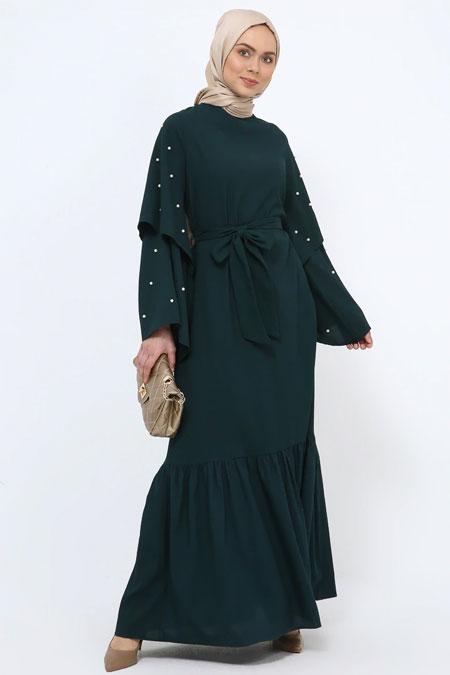 Tavin Zümrüt Yeşili İncili Volan Detaylı Elbise