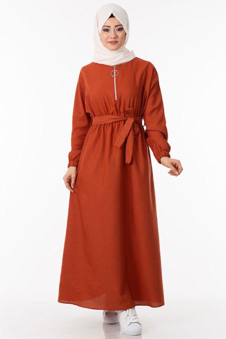 Turuncu Fermuarlı Beli Lastikli Tesettür Elbise