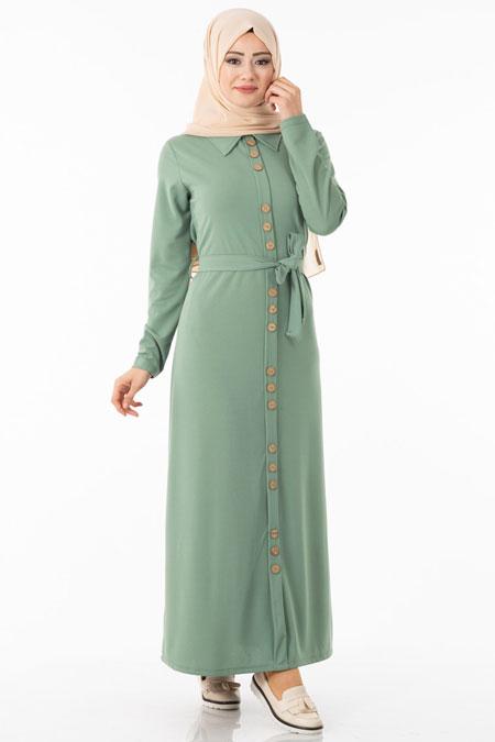 Yeşil Düğme Detaylı Kuşaklı Tesettür Elbise