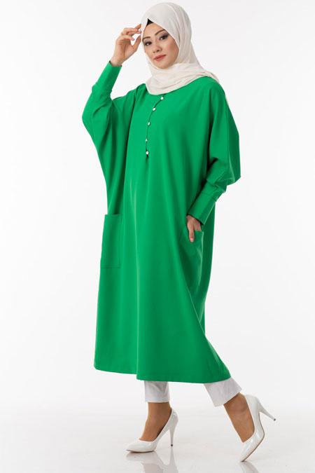 Yeşil Düğmeli Cep Detaylı Tesettür Tunik