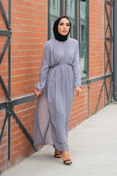 BUTİK EVREM Açık Gri Şifon Elbise
