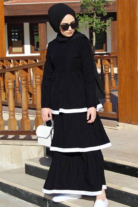 BUTİK EVREM Siyah Kat Kat Elbise