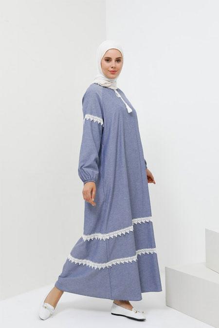 Benin Açık Mavi Güpür Detaylı Cepli Elbise
