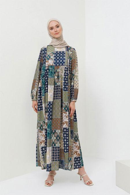 Benin Yeşil Biye Detaylı Desenli Elbise