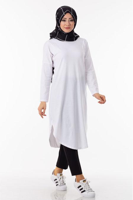 Beyaz Uzun Tesettür Tunik