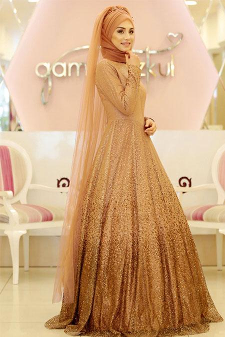Gamze Özkul Karamel Degrade Işıltı Abiye Elbise