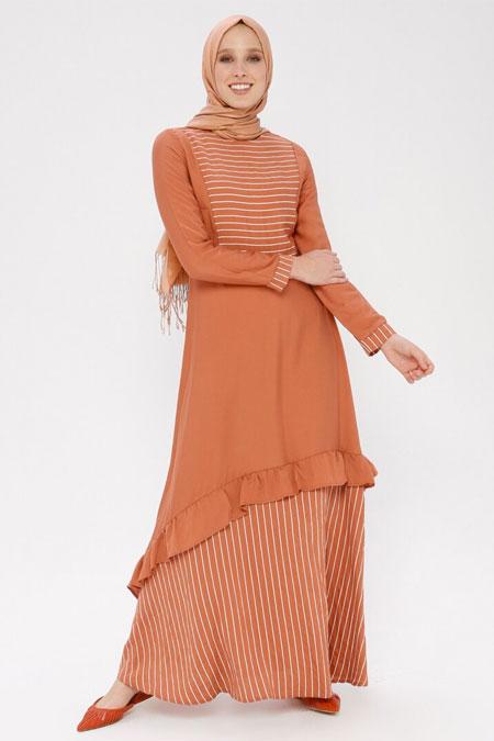 Ginezza Taba Volan Detaylı Çizgili Elbise