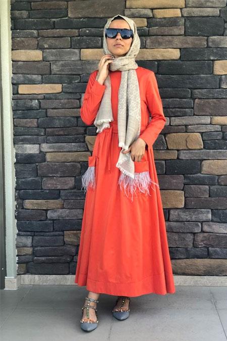 Lavinia Couture Turuncu Devetüylü Elbise