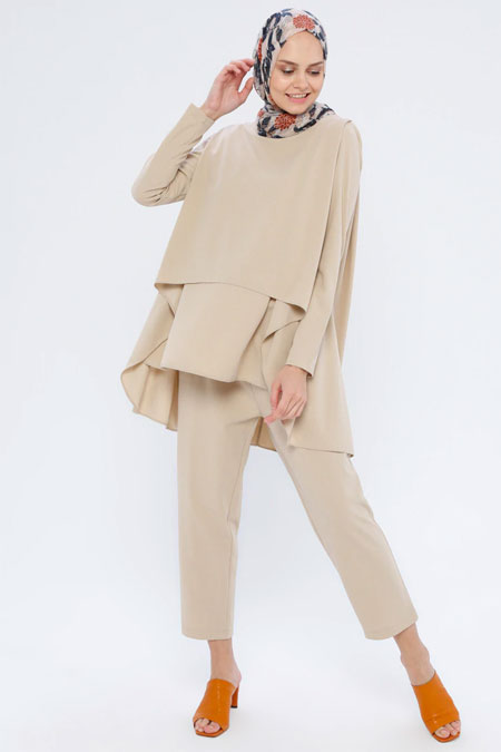 Loreen By Puane Bej Tunik & Pantolon İkili Takım