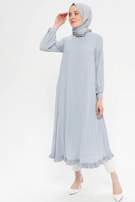 Loreen By Puane Gri Etek Ucu Fırfırlı Elbise Tunik