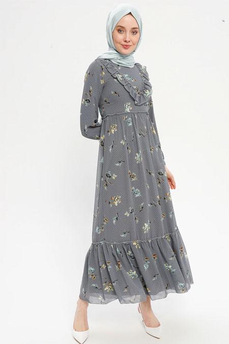 Loreen By Puane Gri Volan Detaylı Elbise