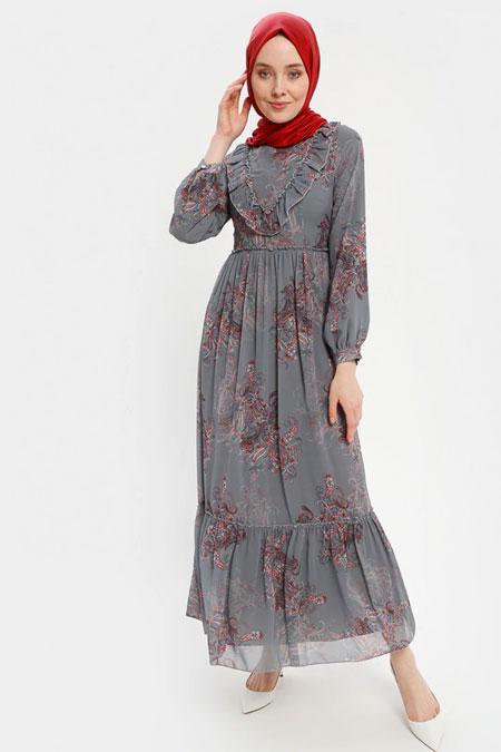 Loreen By Puane Gri Volan Yaka Detaylı Elbise