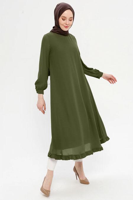 Loreen By Puane Haki Etek Ucu Fırfırlı Elbise Tunik