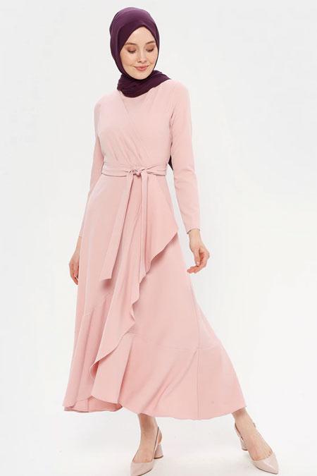 Loreen By Puane Pudra Kruvaze Detaylı Kemerli Elbise