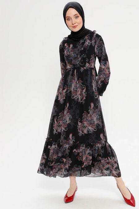 Loreen By Puane Siyah Volan Yaka Detaylı Elbise