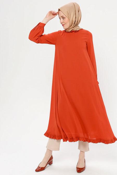 Loreen By Puane Turuncu Etek Ucu Fırfırlı Elbise Tunik