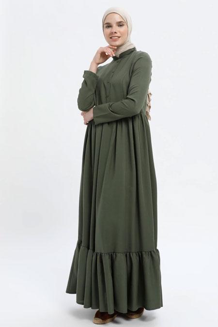 MisCats Haki Düğmeli Elbise