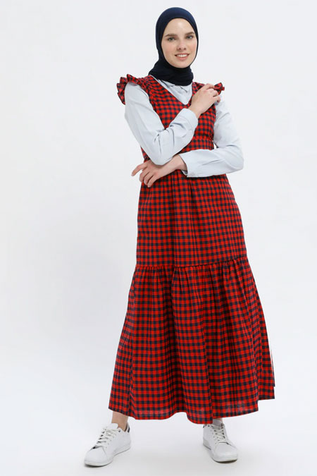 MisCats Kırmızı Kareli Elbise