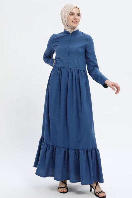 MisCats Lacivert Düğmeli Elbise