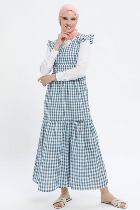 MisCats Mavi Kareli Elbise