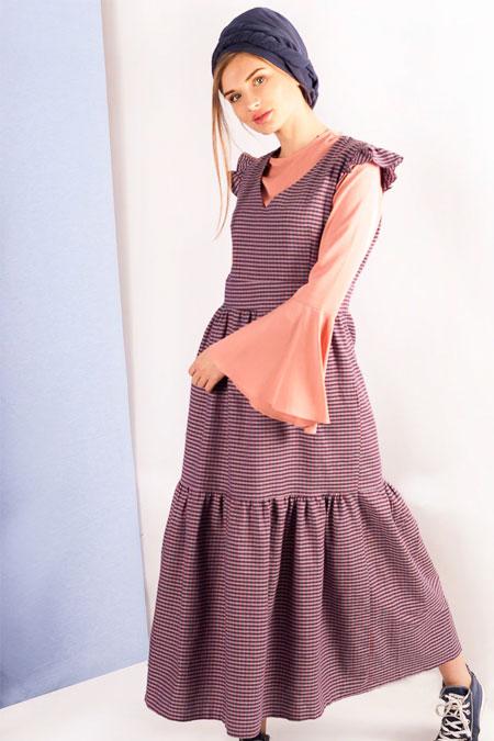 MisCats Mor Ekoseli Elbise