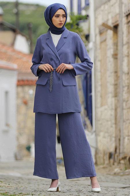 Nurbanu Kural İndigo Stil Pantolon & Ceket Takım