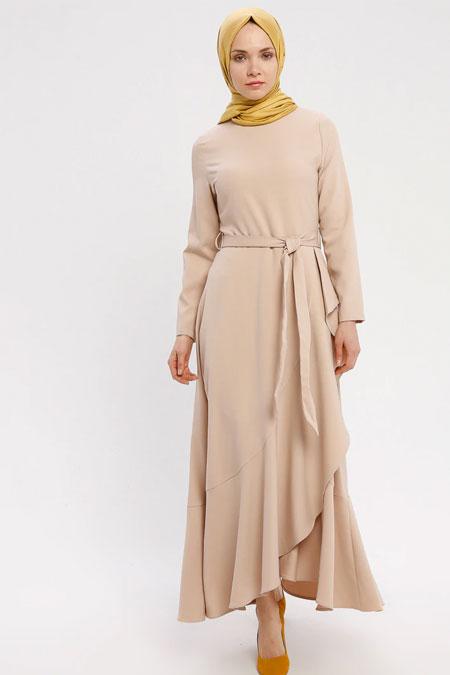 Panaline Bej Volan Detaylı Elbise