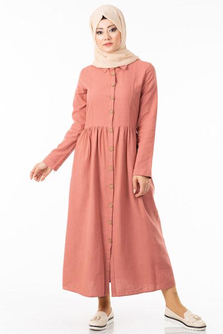 Pembe Düğmeli Tesettür Elbise