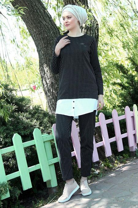 Por La Cara Siyah Çizgili Pantolon & Tunik İkili Takım