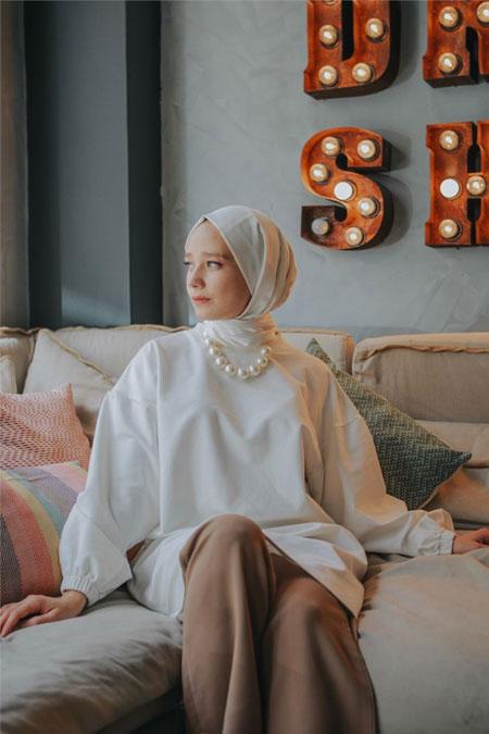 Qubamood Beyaz Balon Kol Sweatshirt