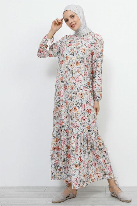 Refka Bej Kol Ucu Bağcıklı Çiçekli Elbise