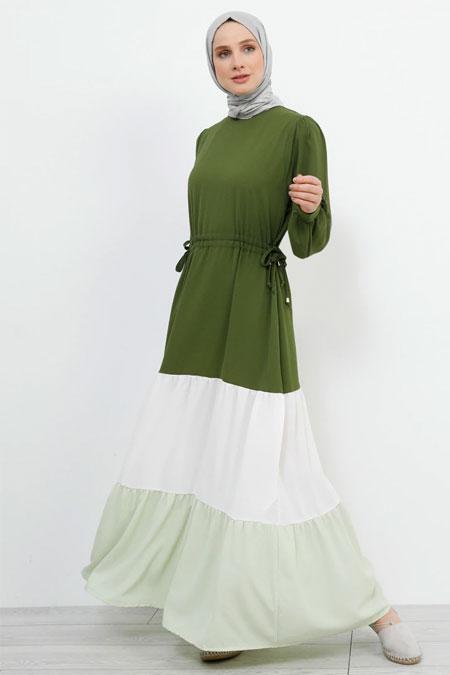 Refka Çimen Yeşili Beli Bağlamalı Garnili Elbise
